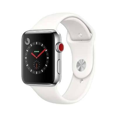 イオシス|Apple Watch Series3 42mm GPS+Cellularモデル MQLY2J/A A1891【ステンレススチールケース/ソフトホワイトスポーツバンド】