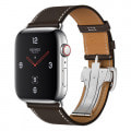 Apple Watch Hermes Series4 44mm GPS+Cellularモデル MU752J/A A2008【ステンレススチールケース/シンプルトゥールディプロイアントバックル ヴォー・バレニア(エベンヌ)レザーストラップ】