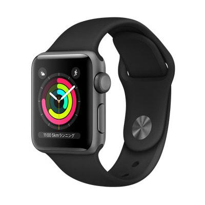イオシス|Apple Watch Series3 38mm GPSモデル MTF02J/A A1858【スペースグレイアルミニウムケース/ブラックスポーツバンド】