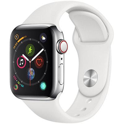 イオシス|Apple Watch Series4 GPS + Cellularモデル 40mm MTVJ2J/A 【ポリッシュドステンレス/ホワイトスポーツバンド】