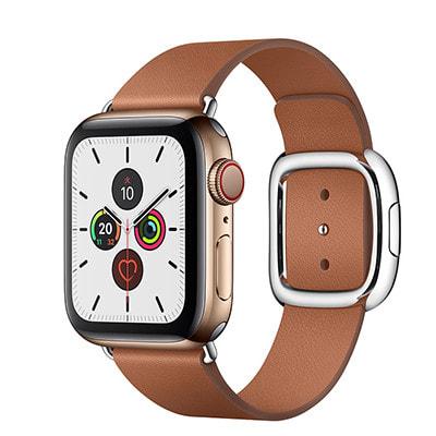 イオシス|Apple Watch Series5 40mm GPS+Cellularモデル MWQ92J/A+MWRE2FE/A A2156【ゴールドステンレススチールケース/サドルブラウンモダンバックル】