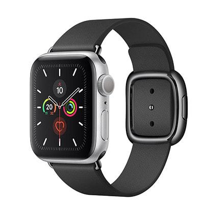 イオシス|Apple Watch Series5 40mm GPSモデル MWRX2J/A+MWRG2FE/A A2092【シルバーアルミニウムケース/ブラックモダンバックル】