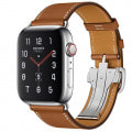 Apple Watch Hermes Series5 44mm GPS+Cellularモデル MWRA2J/A+MTQF2FE/A A2157【ステンレススチールケース/シンプルトゥールディプロイアントバックル ヴォー・バレニア(フォーヴ)レザーストラップ】