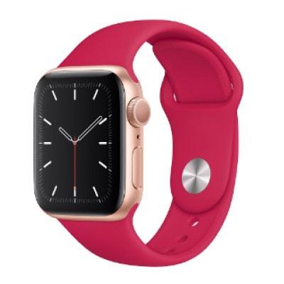 イオシス Apple Watch Series5 44mm GPSモデル MWT42J/A+MWU02FE/A A2093【ゴールドアルミニウムケース/ポメグラネットスポーツループ】