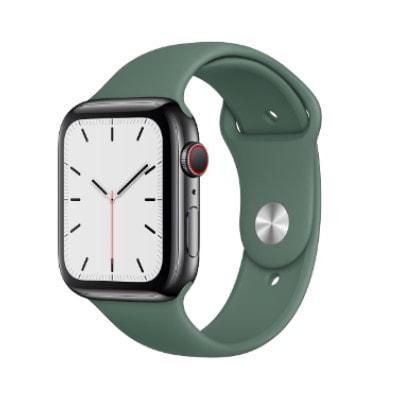 イオシス|Apple Watch Series5 44mm GPS+Cellularモデル MWR42J/A+MWUV2FE/A A2157【スペースブラックステンレススチールケース/パイングリーンスポーツバンド】